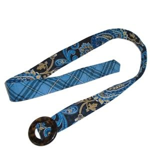 Vera Bradley Fabric Adjustable Belt Blue Paisley